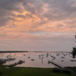 Cotuit Bay at Sunset featuring abutting docks, Town Dock, and proposed site